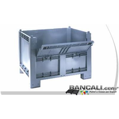 Cargo600ATxPO - CargoPALLET  Box  in Plastica 600 Litri  con SPORTELLO; Igienico e  ATOSSICO; dimensioni:  800x1200 h.850 mm. 4 Piedi,  colore Grigio Chiaro.