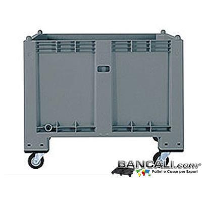 Cargo Pallet Box 800x1200 h850 in Plastica industriale; dotato di 4 Route,  l'altezza diventa circa h. 1000 mm. Destinato per tutti gli usi industriali specifici e generici.  Peso Tara  con ruote  40 kg circa.