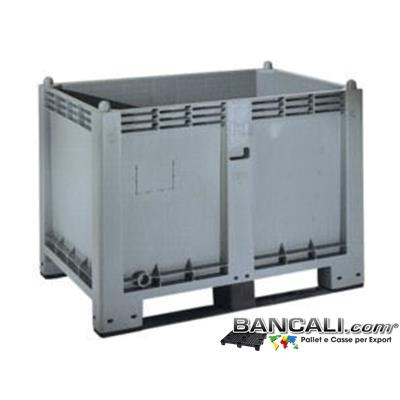 CargoPAL600s2Rack - Cargo Pallet BOX 80x120 h85cm Materiale Plastica Industriale Pareti Chiuse 2 Slitte/Traverse idoneo a Scaffale  Max 500 Kg. (per maggiori kg di portata su Scaffale  consultarsi)