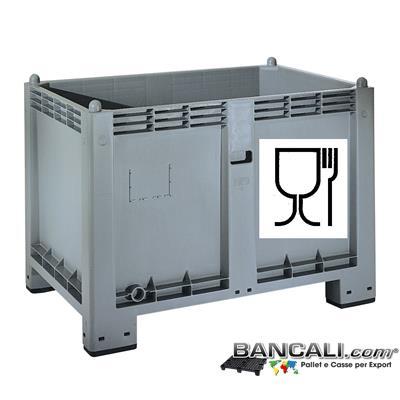 CargoPALLT-600-ATX-Atossico - CARGO PALLET EuroBox  550 Lit. 80x120 h85 ATOSSICO  realizzato con Plastiche nobili e dotato di Simbolo impresso sul cassone per l'idoneità agli  ALIMENTI  e per gli  usi igienici.