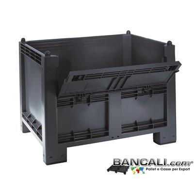 CargoPallet-100x120-h83-ind-700L-Portello - Cassone Box CargoPALLET 700 Litri in Plastica 800x1200 h 850 mm. con Portello 4 piedi Grigio Industriale; Tara Kg. 33 circa