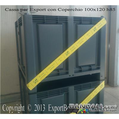 CargoPallet-700L-100x120-h100-Ruote-4-Ind. - Contenitore in plastica 1000x1200 x h.100 mm con 4 Ruote;  Cassa con misure interne: 920x1120x h.655 mm Sovrapponibile e Accatastabile con Ruote. Peso Tara con Coperchio Kg. 40