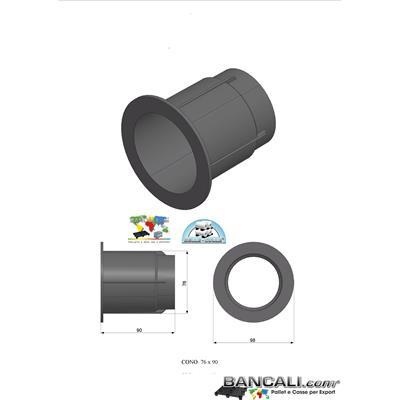 Cono Plug 760x900 mm in plastica  (Pollici 3'') Tronchetto Mandrino per Flange in legno truciolare o in plastica  per Bobine in sospensione Peso Tara 740 Gr.