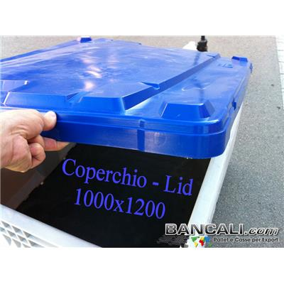 Coperchio-Lid-100x120-Board-DV - Coperchio in Plastica 1000x1200 per Contenitori, Box, Casse, Cassoni, PalletBox, Casse pallet, Board DV. Materiale Plastica vergine HDPE, Atossico per Alimenti. Dotato di  calco rialzato per la sovrapponibilità di altri Contenitori. Peso tara Kg. 5