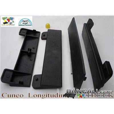 Cuneo119-LK-T - Cuneo Longitudinale 1180 mm. alto 80 mm. in Plastica per bobine Cilindri, Zeppa Forte e Resistente idoneo per il bancale EPAL in Legno. Peso Tara 6 Kg.