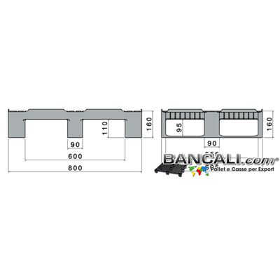 DUS60x80W4CR2 - miniPALLET Dusseldorf 600x800 h160 mm Robusto in plastica Vergine HDPE  Sovrapponibile a 3 Traverse  Inforcabile  4 Vie  Pallet per logistica e transito Rulliere Peso Tara 7,5  Kg