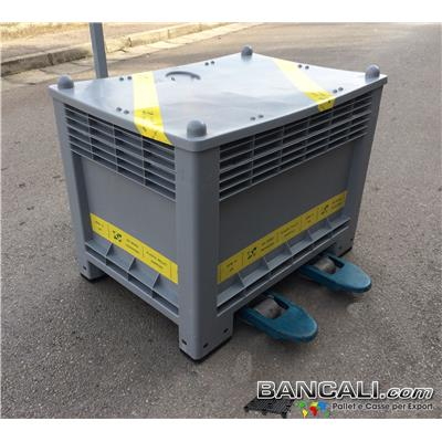 EBOX350Lh75V2 - Cassa per Export 700x1000 h.750cm 350 Litri in Plastica a 2 Vie Rinforzata con Nest BK 60x80 con Coperchio Peso Tara 30 Kg.