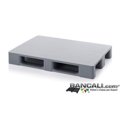 EPV80x120CDAP - EuroPallet 800x1200 h.150 mm in Plastica  Atossica per Alimenti a piano Liscio e Chiuso di media robustezza con 3 slitte, Colore Grigio Chiaro.  Peso Tara Kg. 15