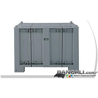 EportBox600L-ATX - BOX in PLASTICA x EXPORT 550L. cm. 80x120 h.85 + COPERCHIO Pareti chiuse 4  Piedi;  ExportBox®  Kg. 33