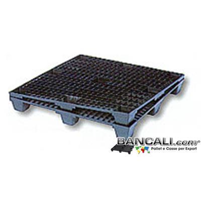 Exp100x120ppN - Export Plastic Pallet 100x120 Inseribile  Grigliato  Kg. 10 Plastica 9 Piedi Maglia Quadr.