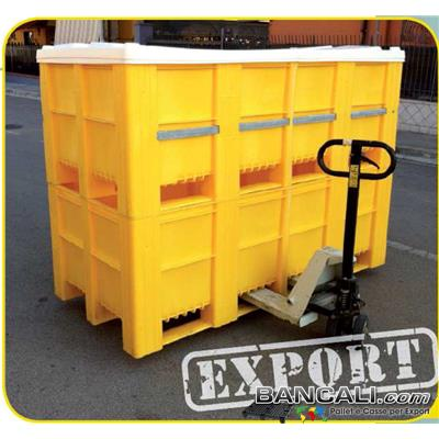 Export-Box-210x110-h80-XXL-con-Cop - Cassa in Plastica molto Grande Larga 1100 mm x Lunghezza 2100 mm altezza 800 mm con Coperchio,  con 5 traverse Trasversali. Cassa Inforcabile 2 Vie (Optional Barra Metallica di Rinforzo) con Coperchio Peso Tara  80 Kg circa.