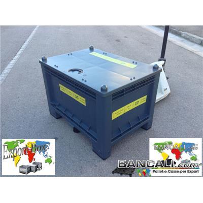 Export-Box-300-L-70x100-h65-9pR - CASSA per EXPORT 70x100 h.65cm 300 Litri in PLASTICA 7 piedi con il COPERCHIO Rinforzata mediante 3 Piedi addizionali per aumentare la Portata della cassa. Utilizzata Plastica nobile di Prima Scelta e Fusione. Peso tara 24 Kg.