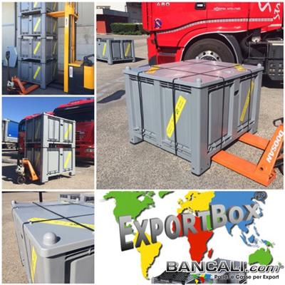Export-Pallet-Box-700L-100x120h84-4P-ATX-C - ExportBox® Contenitore in plastica 1000x1200 x h.840 mm per Export;  Cassa con misure interne: 920x1120x h.655 mm comprensiva di Coperchio, con 4 piedi e inforcabile su tutti i 4 Lati. Sovrapponibile e Accatastabile. Peso Tara con Coperchio Kg. 39