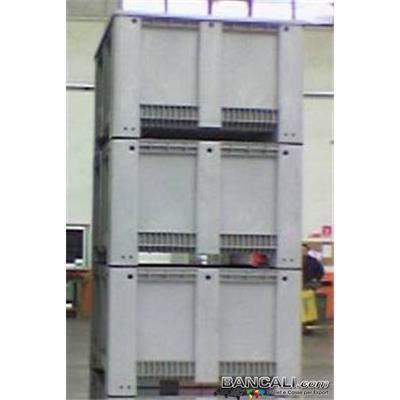 ExportBox113C -  Export Box 1130 x1130 h760 mm in Plastica Quadrato per Container stampato in plastica Vergine, Atossica per  Alimenti  Peso Tara Kg 38. + Coperchio