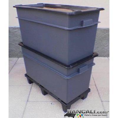 ExportBox70L - BOX CASSA per l'Export  da 70 Litri  cm 40x80 h.41 con COPERCHIO.       Cassa di  Plastica con Maniglie