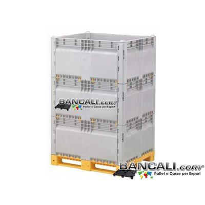 ExportBoxKit3M - Export Box in Plastica 1000x1200 h.1900 mm. con tutte le Pareti Removibili dall'Esterno in modo Autonomo a 3 Moduli o livelli in Altezza con Coperchio. Tara Peso:  85 Kg.