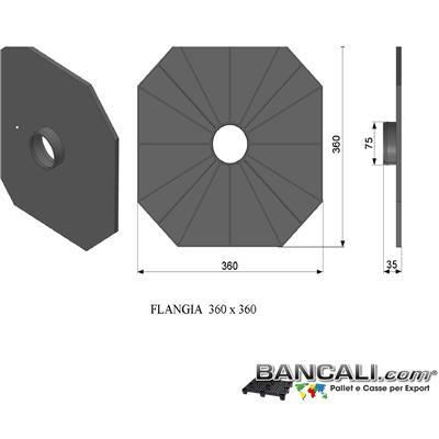 F360x360P3LYW - Flangia in Plastica 360x360 mm. con cono da 76mm o 3 Pollici PortaBobine o Rotoli in Sospensione a 2 Flange a perdere Peso Tara 0,243 Kg.