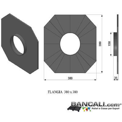 F380x380P6LYW - Flangia in Plastica 380x380 mm. con cono da 152 mm o 6 Pollici PortaBobine o Rotoli in Sospensione a 2 Flange a Perdere Peso Tara 0,270 Kg.