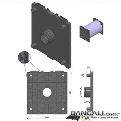 Flangia-600xh.620-Cono-6-Pollici-o-152mm-Ly      - Porta Bobine mediante 2 Flange. La flangia in Plastica 600x620mm con cono da 152mm ( 6 Pollici) è utilizzata come supporto di  bobine di film; Sovrapponibili a più stadi o Livelli. Peso Kg. 4.5 Venduta o conteggiata per pezzo singolo.