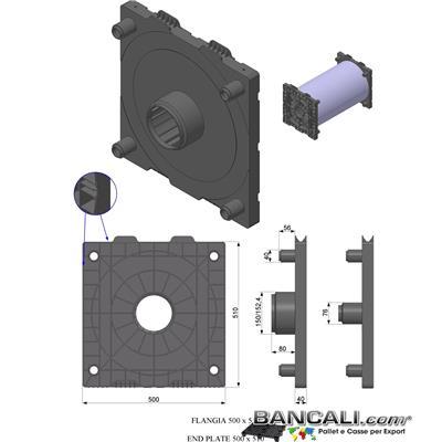 Flangia50x50cono6pollici152mmLy - Porta Bobine mediante 2 Flange. La flangia in Plastica 500x500mm con cono da 152mm ( 6 Pollici) è utilizzata come supporto di  bobine di film; Sovrapponibili a più stadi o Livelli. Peso Kg. 4.5 Venduta o conteggiata per pezzo singolo.