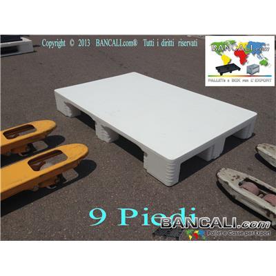 HYG80x120SBP9 - EuroPallet 800x1200 h 150 mm con standard Igienico elevato HACCP e Farmaceutico Bianco Atossico Piano Chiuso,  inodore,  9 Piedi, Lavabile e Sterilizzabile. Peso Tara: 16 Kg