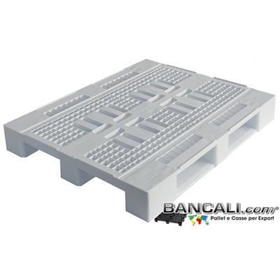 HYn100x120PGV - Pallet Igienico 1000x1200 h.155 mm. in plastica Pianale Grigliato Atossico Plastiche Vergini Inodori. con logo Per ALIMENTI dotato di 3 Slitte sotto Peso Tara 16 Kg.