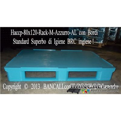 Haccp-80x120-Rack-M-Azzurro-AL - EuroPALLET Igienico HACCP 800x1200 x H.165 mm;  Pianale superiore liscio con bordo 7 mm con Standard BRC, con 3 Slitte monoblocco idoneo per Scaffale; Realizzato con Plastiche Nobili vergini HDPE-4, Idoneo alle Basse temperature, Kg.19 Colore: Azzurro