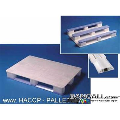 Haccp80S3Rack - EuroPALLET 800x1200 BIANCO molto Igienico; con 3 slitte BLU con all'interno  3 Barre di Metallo  come rinforzo che lo rendono: idoneo allo SCAFFALE