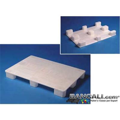 Haccp80x120P9 - EuroPallet 80x120 con standard Igienico elevato HACCP e Farmaceutico Bianco Atossico Piano Chiuso,  inodore, Neutro, 9 Piedi, Kg. 11,5, molto Lavabile e Sterilizzabile.