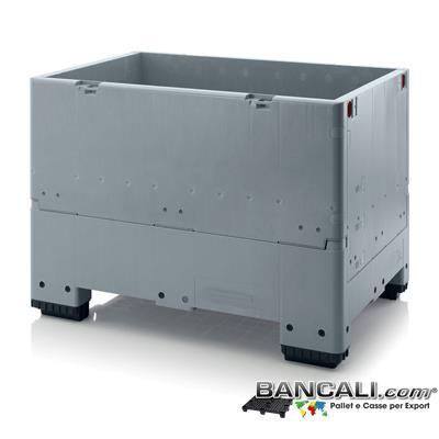 ISO-Box80x120AP - Contenitore Isotemico  800x1200 h900 mm. in plastica Atossica per alimenti  Igienico Ripieghevole. Peso Tara Kg.43