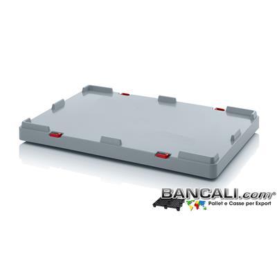 ISO-LID80x120AP - Coperchio Isotermico 800x1200 h.80 mm. in Plastica Atossica per Alimenti, dotato di 4 Clips per agganciarsi al Contenitore. Peso Tara Kg. 8
