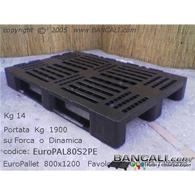 LOG80x120HdS2 - EuroPALLET in Plastica 800x1200 di HDPE Robusto per la LOGISTICA intensiva, con 2 Slitte, Colore Nero Peso Tara Kg. 15