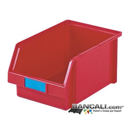 Lupo207x335xh150 - Contenitore in Plastica a bocca di lupo,207 x 335 h 150 mm. per il prelievo manuale del contenuto nei magazzini e nelle catene di montaggio. Multicomponibili autoportanti, Colori: Verde, Giall