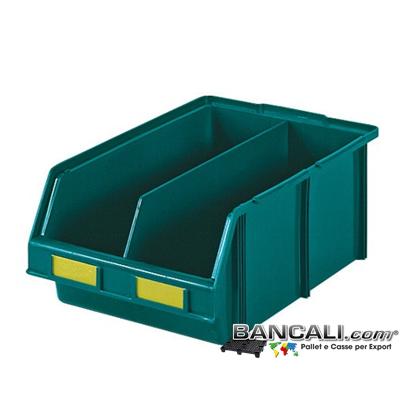 Lupo307x480xh185SepV - Contenitore in Plastica a bocca di lupo,307 x 480 x h 185  mm. per il prelievo manuale del contenuto nei magazzini e nelle catene di montaggio, Multicomponibili autoportanti, dotato di separatore. Colore Verde, plastica Atossica. Peso Tara 1,48 Kg.