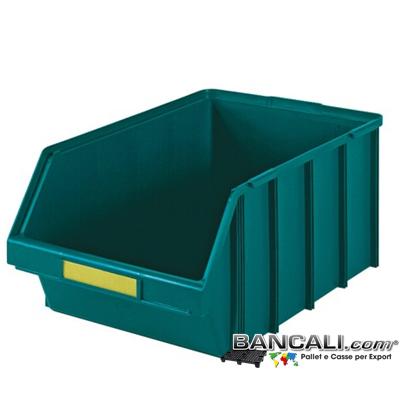 Lupo437x700xh301V - Contenitore in Plastica a bocca di lupo, 437 X 700 h 301  mm. per il prelievo manuale del contenuto nei magazzini e nelle catene di montaggio, Multicomponibili autoportanti. Colore Verde, plastica Atossica. Peso Tara 2,7 Kg