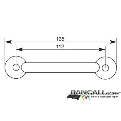 Maniglia135mm - Maniglia Universale Selezionata, 135 mm stampata di metallo, optional per qualsiasi tipo di presa ai Cunei o Cassette. Tara Peso 33 gr.