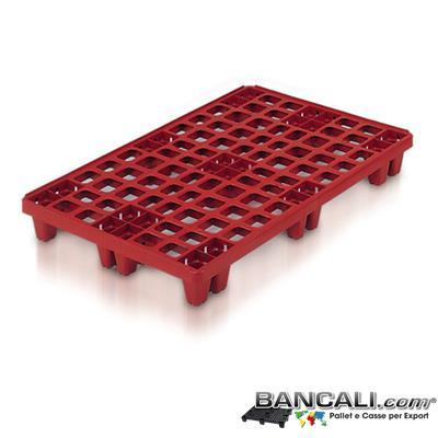 Multipede-80x120-Piedi-24-MD-SH-4W-AL - Pallet in plastica di Colore Rosso mattone, di MEDIA robustezza. Idoneo alla Movimentazione interna Riduce ingombri di Magazzino, 24 Piedi, Ha il bordino Perimetrale anti-sdrucciolo della merce. il pallet è Grigliato o Ventilato Peso Tara 6,1