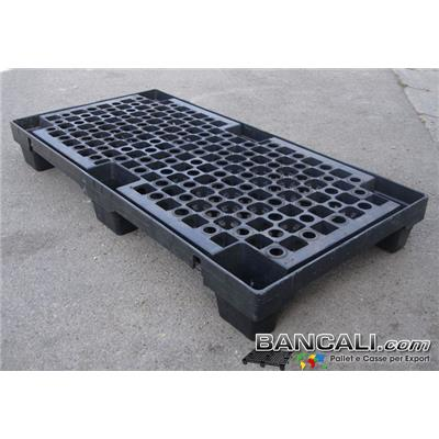 NEST60x120V6 - Bancale Stretto 600x1200 h.150 mm. in plastica Robusto, Pianale Grigliato, inseribile con 6 Piedi, inforcabile 2 vie. Peso Tara 9,3 Kg.