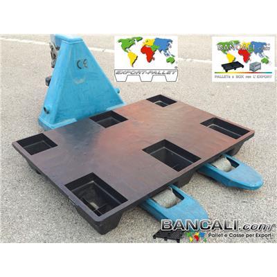 EXPORT-PALLET® 720 x1000 mm. in Plastica inseribile rettangolare a piano chiuso 6 piedi, Idoneo per spedire via Marittima e via Aerea. Tara Peso 5 Kg.