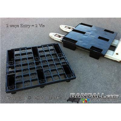 NEST72x76CONT - Pallet Quadrato 720x760 mm. in Plastica Grigliato 6 Piedi idoneo per Export Ideale per lo stivaggio a 3 Corridoi nel Container Peso Tara Kg 3