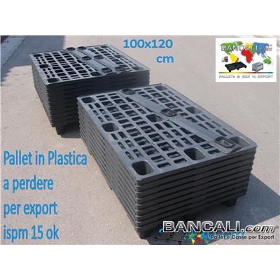 NP100x120CBSA - Pallet in plastica 1000x1200 mm leggero economico 9 piedi CON Bordi Peso Tara Kg. 7