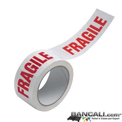 Nastro-Fragille - Nastro Adesivo Fragile per Imballo; Metri Lineari 132, Altezza 50 mm.