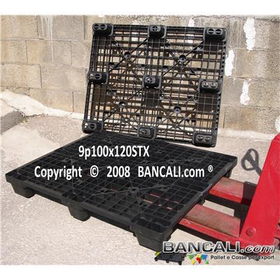 Nest100x120sTX - Bancale in Plastica 100x120 Piedi 9 inseribile, Grigliato Robusto, 13 Kg.  Per Portate Medio Pesanti;  confezionato da 44 pezzi; Ottimo come: EXPORT-PALLET®
