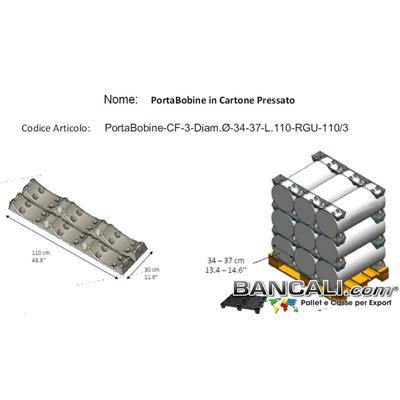 PortaBobine a 3 Culle con Diametro per Cilindri o Rotoli fino a  Ø 370 mm. in Fibra di Carta o Polpa di Cartone Lunghezza 1100 mm. Peso Tara 500 gr. circa.