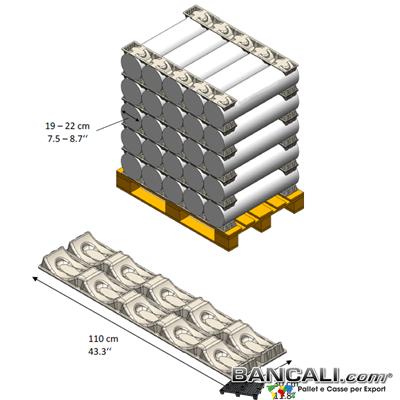 PortaBobine a 5 Culle con Diametro per Cilindri o Rotoli fino a  Ø 220 mm. in Fibra di Carta o Polpa di Cartone Lunghezza 1100 mm. Peso Tara 500 gr. circa.