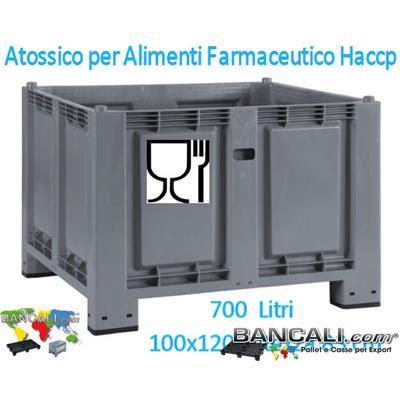 PB10x12h10RuC - Contenitore 1000x1200 x h.1000 mm. in Plastica Atossica con Coperchio a 5 Cerniere antirapina, con 2 Barre Metalliche e con 4 Ruote,Tara Peso Kg.49