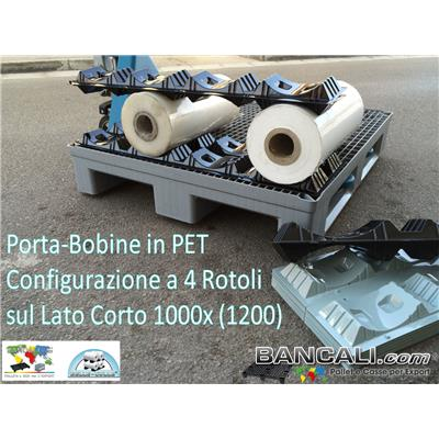 Porta Bobine Diametro da 210 a Ø 240 mm. molto igieniche in Plastica  con 2 Culle per 2 Rotoli Lung. 485 mm = Gr. 200