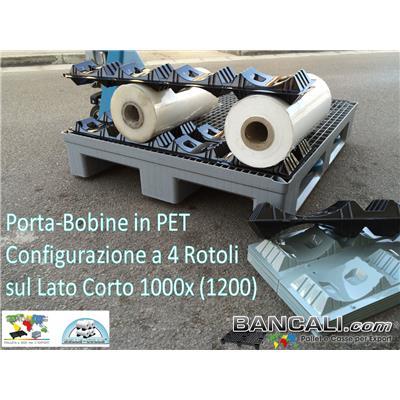 PB48-2D24T2YA - Porta Bobine igienico  in Plastica a 3 Culle per 3 Rotoli Diametro Ø max 240 mm. Lung. 730 mm = PET Peso Tara Gr. 300