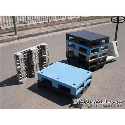 PDuss60x80BKP - miniPALLET Dusseldorf 600x800 mm Robusto in plastica LDPE, con 3 Traverse e 6 gommini. Ottimo come Pedana Antisdrucciolo; Peso Tara  9,7 Kg.