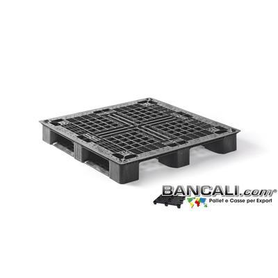PM114x114CP3Q - Bancale in Plastica Quadrato 1140x1140 mm. h.150 modello CP3  per Container Pallet Strutturale Pianale Grigliato Portata Medio Robusta.  Tara Peso: 13,50 Kg.